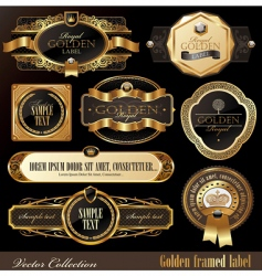 Set of golden luxury frames vector