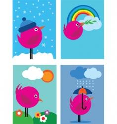 bird in seasons vector image