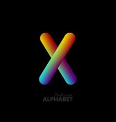 3d iridescent gradient letter x vector