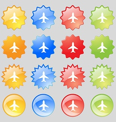 Airplane plane travel flight icon sign big set of vector