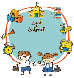 Kids student back to school round frame vector