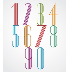 Poster tall colorful numbers with parallel stripes vector