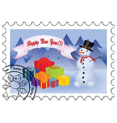 Happy new year stamp vector