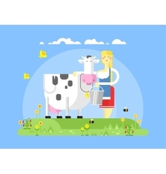 Cartoon character cow and milkmaid vector