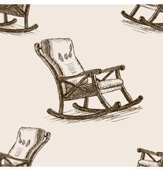 Rocking chair sketch seamless pattern vector