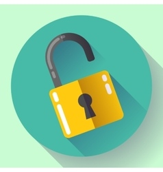 Open lock icon with long shadow flat vector
