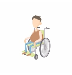 Man in wheelchair icon cartoon style vector