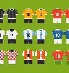 Different soccer team t-shirts clip-art vector