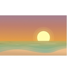 At sunset beach scenery of silhouettes vector