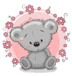 Bear with flowers vector image vector image