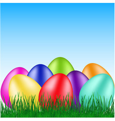 Beautiful eggs on grass vector