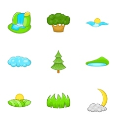 Beautiful nature icons set cartoon style vector