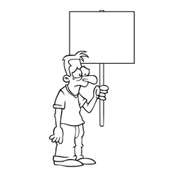 Black and white sad man with protest sign vector image