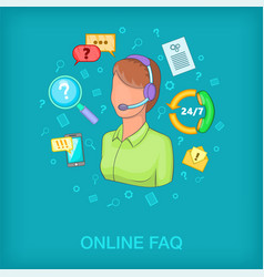 Call center concept woman cartoon style vector