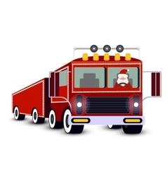 Christmas card santa claus driving truck vector