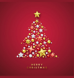 Christmas tree background with shining stars and vector