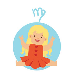 Cute little boy as virgo astrological sign vector