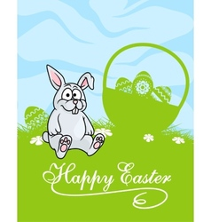 Cute little grey easter bunny vector