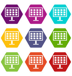 desktop of computer with folders icon set color vector image vector image
