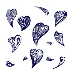 doodle hearts vector image