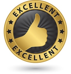 Excellent golden sign with thumb up vector image vector image