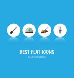 Flat icon farm set of spade hothouse lawn mower vector