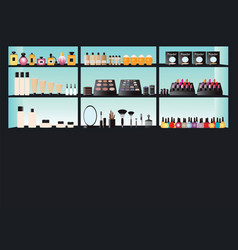 glamour cosmetics make up on shelf vector image