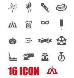 Grey carnival icon set vector