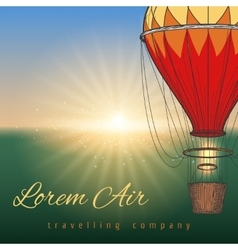 Hot air balloon on blurred background vector