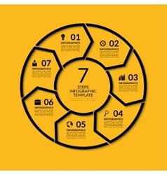 Infographic circle template with 7 steps vector
