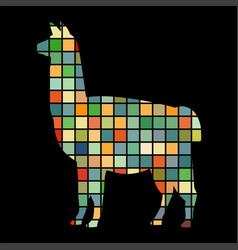 lama mammal color silhouette animal vector image