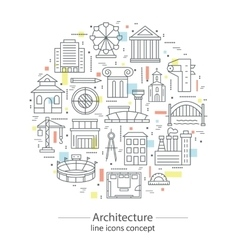 Modern thin line concepts with architecture vector image