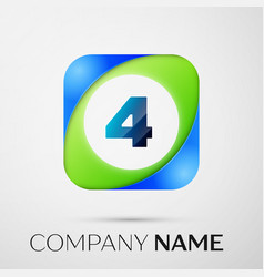 number four symbol in the colorful square vector image vector image