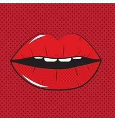 Open red lips pop art background vector