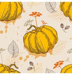 Orange pumpkin and leaves vector