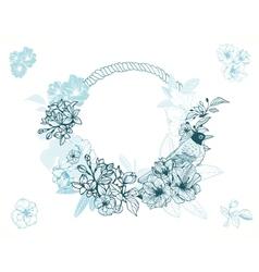 Pastel romantic floral frame vector image