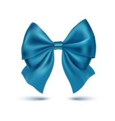 Realistic blue bow isolated on white background vector
