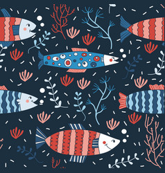 Seamless pattern fish swimming underwater doodle vector
