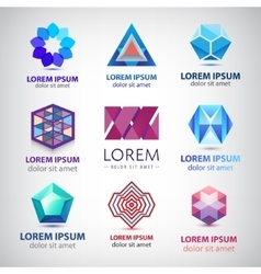 set of abstract colorful 3d logos icons vector image