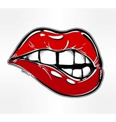 Sexy biting lips vector