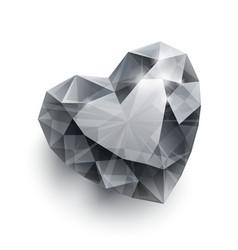 Shiny isolated diamond heart shape with shadow on vector image