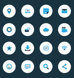 Social colorful icons set collection of envelope vector