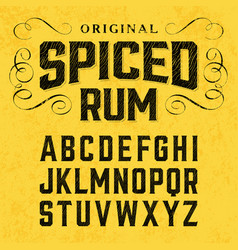 spiced rum vintage style font with sample design vector image vector image