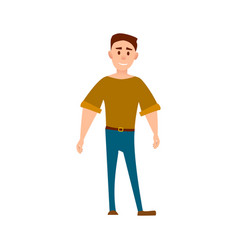 sportive man in t-shirt and jeans full length vector image