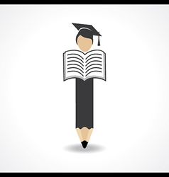 Student design with pencil and wear graduation cap vector image