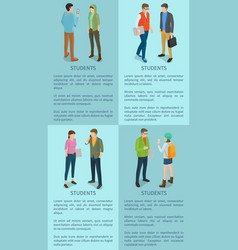 Students isolated on posters with blue background vector