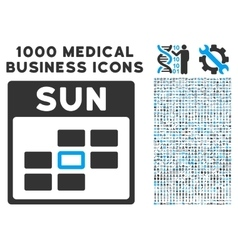 Sunday calendar grid icon with 1000 medical vector