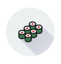 sushi icon on round background vector image vector image