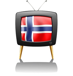 The flag of norway inside the tv vector