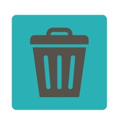 Trash can flat grey and cyan colors rounded button vector